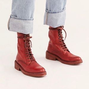 FREE PEOPLE Red Santa Fe Combat Leather Boots